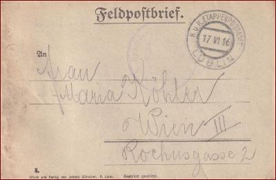 Feldpost Lublin * polní pošta, razítko, regiment, skládaný dopis F01