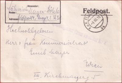 Feldpost nr. 54 * polní pošta, razítko, regiment, skládaný dopis F03