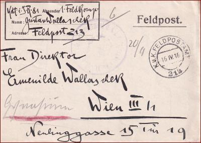 Feldpost nr. 213 * polní pošta, razítko, regiment, skládaný dopis F10