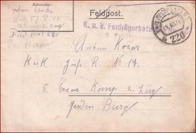 Feldpost nr. 220 * polní pošta, razítko, regiment, skládaný dopis F11