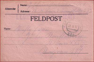 Feldpost nr. 232 * polní pošta, razítko, regiment, skládaný dopis F14