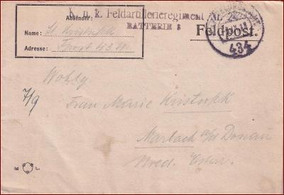 Feldpost nr. 434 * polní pošta, razítko, regiment, skládaný dopis F19