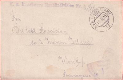 Feldpost nr. 15 * polní pošta, razítko, regiment, obálka F28