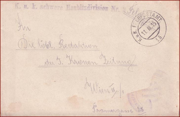 Feldpost nr. 15 * polní pošta, razítko, regiment, obálka F28 - Filatelie