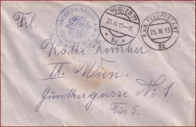 Feldpost nr. 51 * polní pošta, razítko, regiment, obálka F31