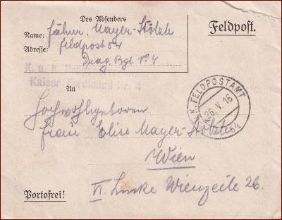 Feldpost nr. 54 * polní pošta, razítko, regiment, obálka F33