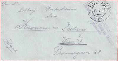 Feldpost nr. 87 * polní pošta, razítko, regiment, obálka F30