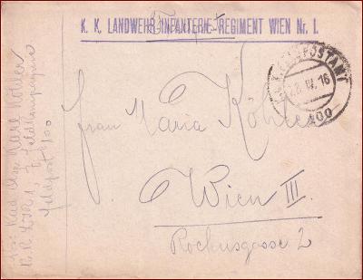 Feldpost nr. 100 * polní pošta, razítko, regiment, obálka F29