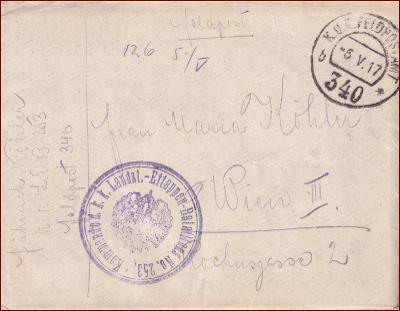 Feldpost nr. 340 * polní pošta, razítko, regiment, obálka F25