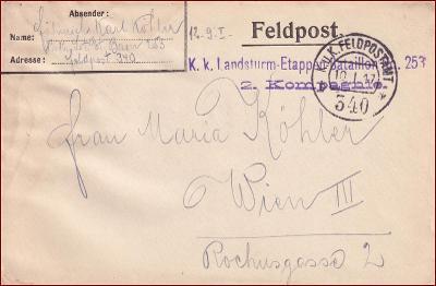 Feldpost nr. 340 * polní pošta, razítko, regiment, obálka F24