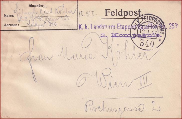 Feldpost nr. 340 * polní pošta, razítko, regiment, obálka F24 - Filatelie