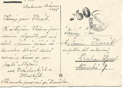 12.VI.1945 razítko Strakonice, placeno v hotovosti, karafiáty 3-3306°°