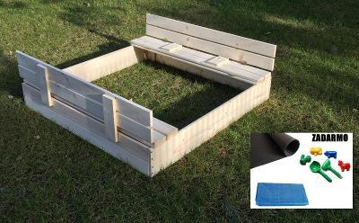 Dětské drěvěné pískoviště s lavičkami 120cm  hračky plachta nemalované