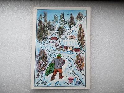 Josef Lada - muž s vánočním stromkem - zimní vesnice