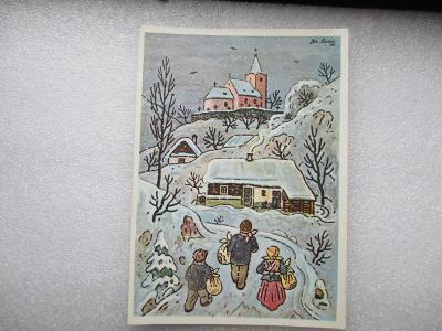 Josef Lada - zima - lidé - vesnice