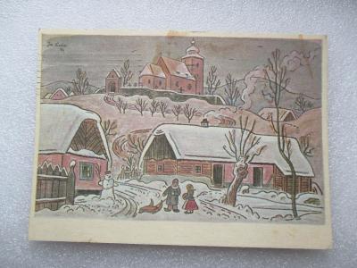 Josef Lada - zimní vesnice s kostelem v pozadí