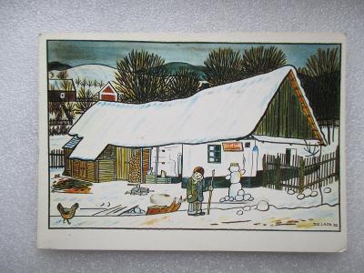 Josef Lada - dítě se sáňkami - sněhulák