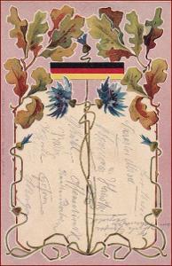 Patriotika * dubová ratolest, chrpa, stuha, secesní motiv * M3130