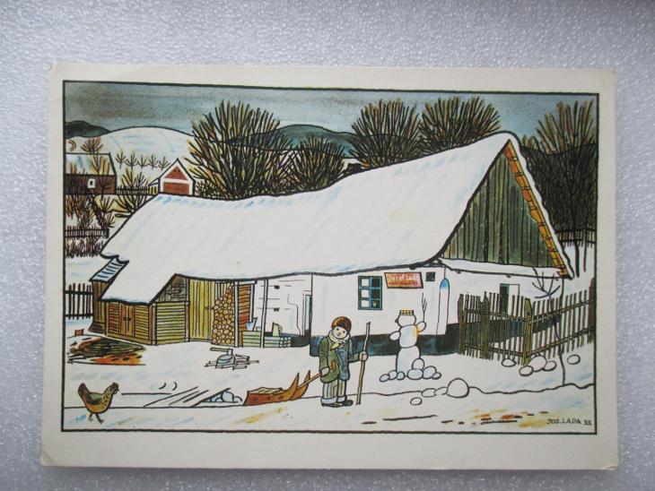 Josef Lada - zima na vesnici - Pohlednice
