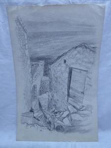 Obraz - Zřícenina - 41 x 26,5 cm - Retro kresba !!!