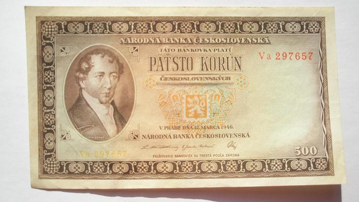 500 Kčs 1946 série Va neperforovaná - Bankovky