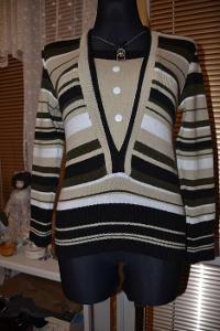 Pěkný proužkovaný svetr s knoflíčky a dlouhým rukávem zn. ELI vel. M/L