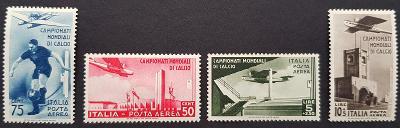 Itálie 1934 MS ve fotbale, 4 známky AIR mail, kat. cena 330 Euro!