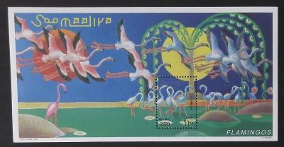 Somálsko 1998 Bl.56 7€ Plameňáci, afričtí vdní ptáci a fauna