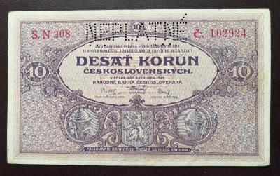 10 korun 1927,serie N,perforovana NEPLATNE