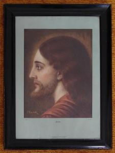 Reprodukce - Ježíš Kristus - malíř F. Doubek - německý text - zaskleno
