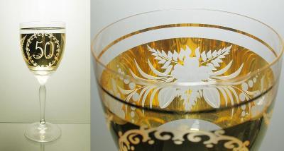 Stará jubilejní sklenice Egermann, zlaceno