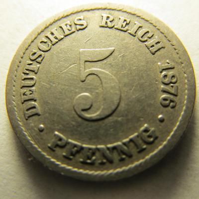 Německo, Kaiser Reich , 5 pfennig z roku 1876 B