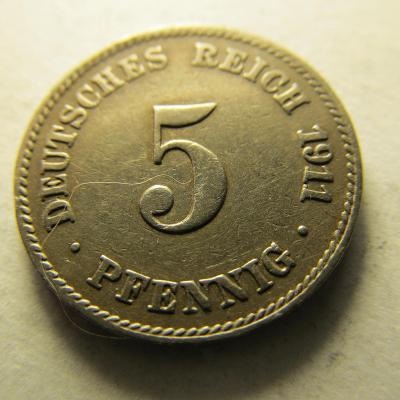 Německo, Kaiser Reich , 5 pfennig z roku 1911 J