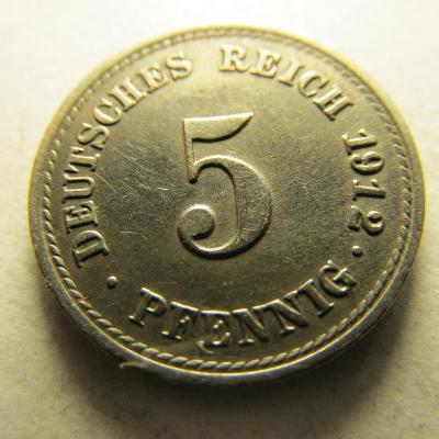 Německo, Kaiser Reich , 5 pfennig z roku 1912 F