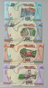 Madagaskar sada 4 bankovky 100, 200, 500, 1000 ariary UNC