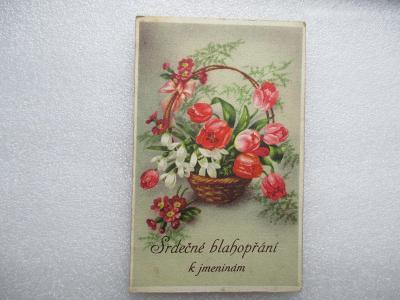 Srdečné blahopřání k jmeninám - MF - tulipány v košíku