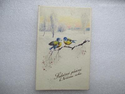 Srdečné blahopřání k Novému roku 1942 - MF - ptáčci na větvi