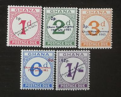 Ghana 1965 Doplatní známky, přetisky decimalizace