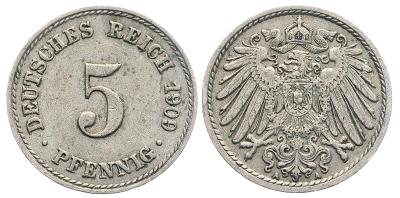 🔥 (Z278) Německo, 5 Pfennig 1909 A