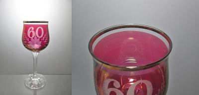 Stará jubilejní sklenice rubín. listr, rytá