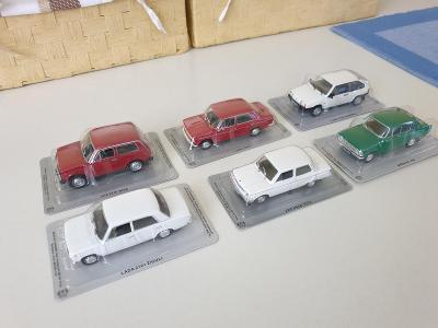 Modely iST MODELS - sbírka 6kusů osobní auto VAZ/LADA/MOSKVIČ/ZAZ 1:43