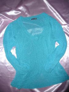 Tyrkysový pletený cardigan svetřík 42