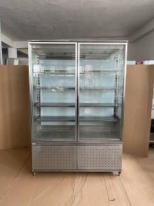 Prosklená chladicí nerezová lednice