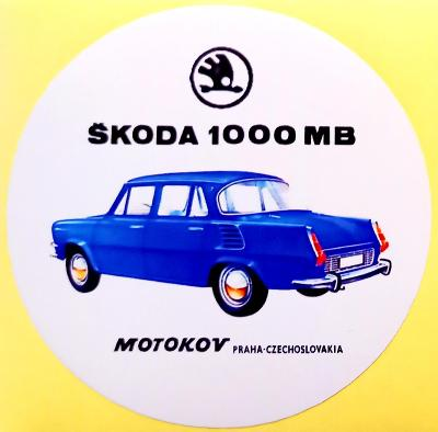 ŠKODA (Š1000, 1100, MB, MBX aj.) bílá samolepka pr.7 dle foto (1x).