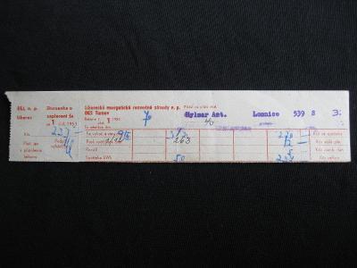 Stvrzenka k faktuře Liberecké energetické závody 1953