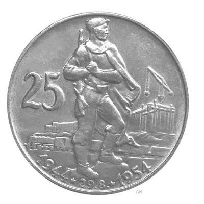 Vzácná stříbrná mice 25 Kč - 10. výročí SNP 1954