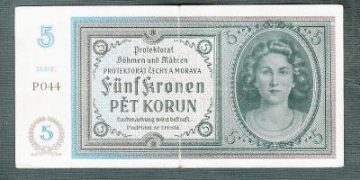 5 korun 1940 serie P044 NEPERFOROVANA
