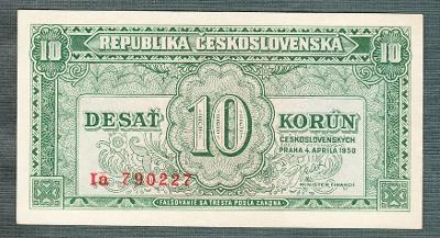 10 kčs 1950 serie Ia NEPERFOROVANA stav 1+