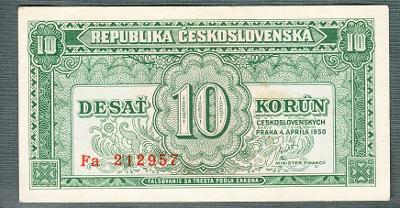 10 kčs 1950 serie Fa NEPERFOROVANA stav 1