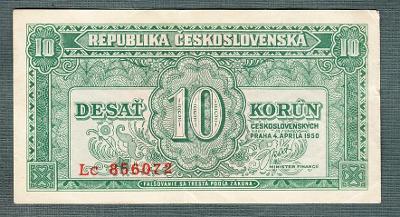 10 kčs 1950 serie Lc NEPERFOROVANA